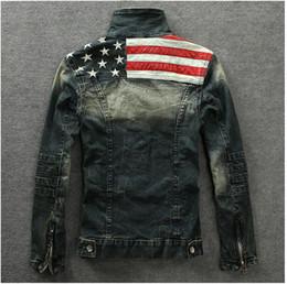 casaco velho Desconto Atacado-2016 denim jaquetas Outerwear bandeira americana macho do velho azul da motocicleta jeans jaqueta casaco homem moda jeans slim denim