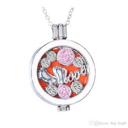 Wholesale Imitation Coin Pendants Wholesale - Aromatherapy Jewelry Essential Oil Diffuser Necklace 2016 New Fashion Alloy Material Locket Love My Coins Pendant Necklace