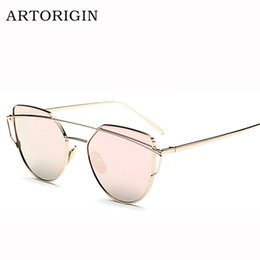 Wholesale Punched Copper - Wholesale-Newest Cat Eye Sunglasses Women Brand Designer Twin-Beams Sun Glasses Reflective Mirror Sunglasses Flat Panel Love Punch AT009