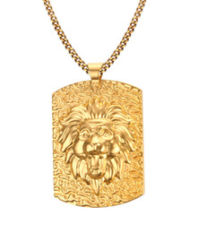 Wholesale Lion Medallion - Large Gold Plated Stainless Steel Lion Head Medallion Pendant Necklace for Man