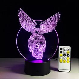 Wholesale Original Eagle - Original Eagle with Skull 3D illusion LED night Lights Acrylic Panel 7 Colors change AA Battery Or USB 5V fairy lights +remote control
