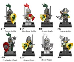 Wholesale Toy Warrior Knights - x0148 Medieval Knights Super Heroes Gladiatus figures kingdom knight frieghtening Dragon kinight Warrior Building Blocks Toys 018