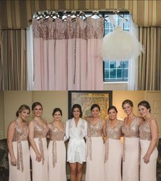 Wholesale White Sheath Beach Wedding Dress - Rose Gold Sparkly Sequins Long Bridesmaid Dresses 2017 V Neck Sheath Chiffon Beach Country Style Maid of Honor Gowns Wedding Guest Dress
