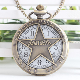 Wholesale Antique Saint - Japan Cartoon Anime Saint Seiya Quartz Pocket Watch for Christmas Watch Gift