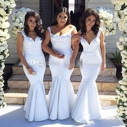 Wholesale Cheap Wedding Dresses Fast Shipping - Cheap White Mermaid Fast Shipping 2017 Bridesmaid Dresses Satin Floor Length Plus Size Long Wedding Guest Dresses Party Dresses WE39