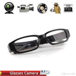 Wholesale Spy Camera Lens Glasses - DHL HD 720P 30fps Camera Eyewear Ultra-thin flat glasses on the left lens Hidden Spy SunGlasses camera Dvr Video & Audio Recorder Mini DV