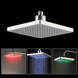 """Wholesale Shower Head Sprinkler - Bathroom Square 8"""" inch LED 7 Color Changing Stainless Shower Head Sprinkler"""