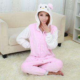 Wholesale One Piece Pajamas For Adults - Wholesale- New Hello Kitty white Pajamas For Women Nightgown Pajama Adult Pajama One Piece Polyester Pajamas Pyjamas