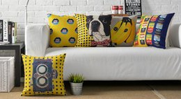 Wholesale Lips Throw Pillows - Free shipping Novelty cool gift Pop Art banana dog lips black dots retro camera pattern linen Cushion Cover decorative throw pillow Case