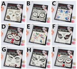 henna tattoo designs beine Rabatt Heißer Verkauf Schreck Nacht temporäre Gesicht Tattoo Body Art Kette Transfer Tattoos temporäre Aufkleber auf Lager 9 Arten