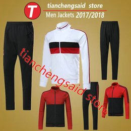 Wholesale Long Sleeve Adult Soccer Kits - 2018 adult AC Milan long sleeve sportswear football tracksuits sets 17 18 BACCA BERTOLACCI Training uniforms suit soccer jacket+pants kit