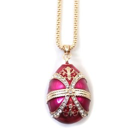 Wholesale Russian Eggs - Popular Russian Easter egg gold plated silver enamel craft necklace