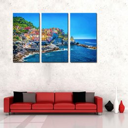 Wholesale Mediterranean Sea Painting - 3 Picture Combination Wall Art For Home Decoration Traditional Port Mediterranean Sea Cinque Terre Italy Coast Landscape