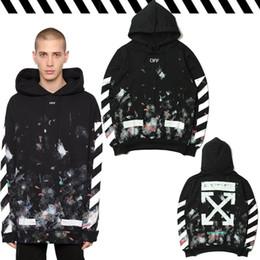 Wholesale Code Sweaters - OFF Hooded Cover Sweater Tide Code Graffiti Printed Sweatshirts Men Hip-Hop Sky Fireworks Arrows Ink Men Hooded Sweatshirts