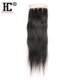 "Wholesale Top Closure Pieces Human Hair - HC hair Lace Closure 100% Unprocessed Virgin Human Hair Brazilian Silky Straight Closure Pieces Weave 8""-20""(4*4) Human Hair Top Closures"