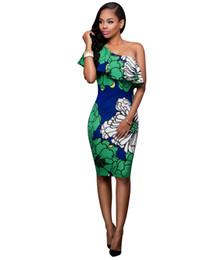 Wholesale Petal Fold - European and American printing skirt dress sexy oblique shoulder bandage dress, flounced collar folds Slim dress, mini package hip nightclub