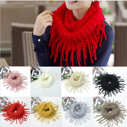 Wholesale Wholesale Knitted Scarves Green Black - 11 Colors Women Ring Scarves Winter Warm Fashion Women Knitted Tassels Shawl Scarf Wholesale S662