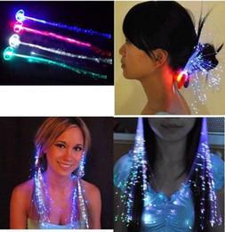 Wholesale Fiber Optic Hair Extensions Wholesale - Luminous Light Up LED Hair Extension Flash Braid Party girl Hair Glow by fiber optic For Party Christmas Halloween Night Lights Decoration