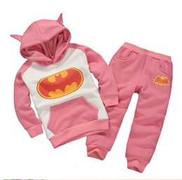 Wholesale Batman Baby Clothes For Girls - 2016 and the boy set heat Batman suit children's clothing for boys and girls Hoodie and jacket suit Baby Size Pink Blue tw
