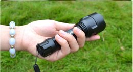 Wholesale High Lumen Powered Led Flashlights - 2016 The latest SOS High Powered Black LED Flashlights Durable Cree T6 LED Torches for Camping 3800 Lumen Aluminum Alloy Material Hot Sale
