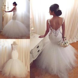 Wholesale Plus Size White Goddess Gown - Mermaid Goddess Lace Wedding Dresses 2017 Cheap Sweetheart Vintage Lace Sexy Backless Tiered Tulle Summer Wedding Bridal Gowns with Buttons