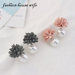 Wholesale House Stud - Fashion House Wife Charm Simulated Pearl Flower Stud Earring Earstud New Double Side Earring For Women Jewelry Gifts LE0071