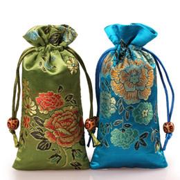 Peines de embalaje online-Alargar Peony Flower Silk Brocade Jewelry Pouch Cordones Collar Pulsera Regalo Packaging Bag Wood Comb Trinket Bolsillo de almacenamiento
