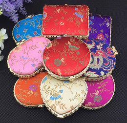 Wholesale Double Side Gift Mirror - High quality Classical brocade double - sided exquisite gift mirror characteristics craft creative silk HM014 mix order as your needs