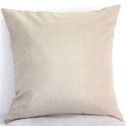 Wholesale Pillow Cover Cotton - Burlap pillow cover 45X45CM custom monogram personalized Wedding throw pillow case Home Cushion Cover Decoration DIY Sublimation Gifts