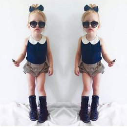 Wholesale American Girl Dolls Clothes - INS Summer Children Outfits baby girls lace doll collar navy blue Chiffon vest tops+stripe shorts 2pcs sets kids cotton clothing