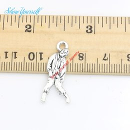 Wholesale Wholesale Zombie Pendants - 20pcs lot Antique Silver Plated Walking Dead Zombie Charms Pendants for Necklace Jewelry Making DIY Handmade Craft 17x6mm