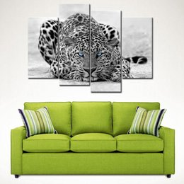 Wholesale Tiger Paintings Canvas - 4 Picture Combination Black & White 4 Panel Wall Art Painting Blue Eyed Tiger Prints On Canvas The Picture For Home Decoration