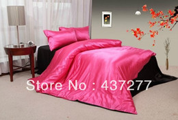 Wholesale Silk Quilt Comforter Black - dignified rose red & black bedding silk & cotton fabric queen duvet quilt cover bed in a bag coverlets bed sheets comforter sets