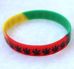 Wholesale Popular Silicone Wristbands - 50Pcs Multicolor Maple Leaf Silicone Wristband Bracelet Popular Logo Fashion women men unisex bracelets & bangles