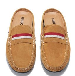 Wholesale Light Blue Moccasin - Lazy man leather shoes, leather sandals in baotou summer summer half slippers sandals man skin drag half male shoes shoes drag