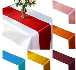 Wholesale Table Runner Satin - Free Shipping Table Runner Satin Table Runners for Wedding Satin Ribbon Cloth Table Runner Flag of Wedding Banquet Decors