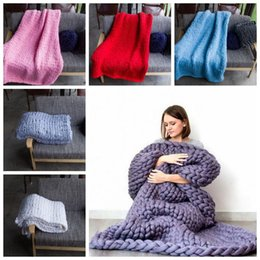 Wholesale Knit Throws Blankets - 14 Colors 60*60cm Chunky Knit Blankets HandCrafted Blanket Sofa Air Condition Bed Woven Yarn Kinitted Throw Photograph Blanket CCA8273 20pcs
