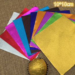 "Wholesale Packaging For Sweets - Retail 600Pcs  Lot 10*10Cm 3.93""X 3.93""Multi Colored Foil Wrapper For Chocolates Sweet Packaging Paper Square Colorful Tin Foil"