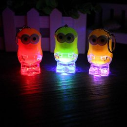 Wholesale Men Flashlight - New Arrival Minion LED Light Keychain Key Chain Ring Kevin Bob Flashlight Torch Sound Toy Despicable Me Kids Christmas Promotion Gift