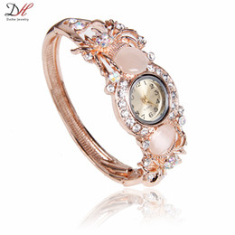 Wholesale Luxury Opal Jewelry - 2016 Newest fashion hot sale beautiful wrist watches alloy jewelry luxury rose gold plated full opal crystal women's fashion watches