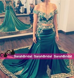Wholesale Indian Fashion Wear - New Two Pieces Hunter Green Evening Dresses With Appliques Embroidery Indian Arabic Kaftan Long Formal Prom Party Gowns Celebrity Style Wear