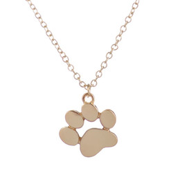 Wholesale Cute Cat Jewelry - Wholesale Metal 2016 New Choker Necklace Tassut Cat and Dog Paw Print Animal Jewelry Women Pendant Long Cute Delicate Statement Necklaces