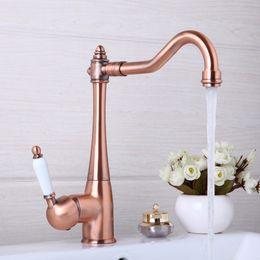 Wholesale Basin Taps Mixer - Wholesale- Kitchen Faucets Swivel Antique Copper Deck Mounted Mixer Tap Bathroom Faucet Basin Mixer Hot Cold Tap Faucet