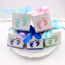 Wholesale christening baby gifts - 30pcs lot Baby Shower favor Candy Box Baptism Christening Birthday Gift chocolate box birthday party decoration with ribbon