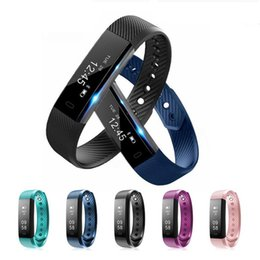 Moniteur de sommeil de podomètre à vendre-ID115 Smart Bracelet Fitness tracker Podomètre Activity Monitor Rappel de messages Alarm Clock Vibration Wristband pour IOS Android Cellphone