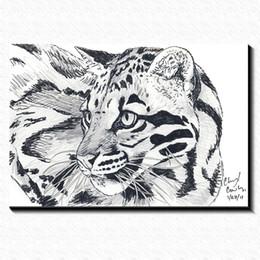 Wholesale Pub Pictures - Hand draw the leopard Painting Picture Canvas Poster Home Bar Pub Garage Art Decorative Print Canvas Painting 60*40cm