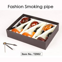 Wholesale Smoke Pipe Gift Set - Fashion Gift Wood Color Smoking Pipes Metal & Acrylic Material 6pcs Set Gift Packaging Pipes For Smoking 4 Types TZ001 TZ002 TZ004 TZ005