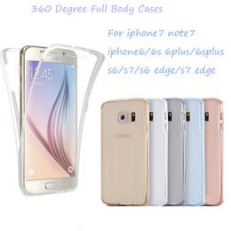 Caso de la cubierta frontal del iphone online-Fundas de cuerpo completo de 360 grados para iphone 7 6 6s plus / 5 / 5s / s7 / s7edge / note7 Parte delantera trasera transparente suave cubierta de TPU