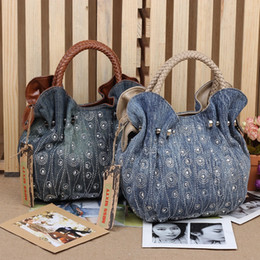 Wholesale Evening Beads Bags - New Vintage Hobos Fashion bolsa feminina Beads Rhinestone Denim Jeans Women HandBags Evening Bags Tote For Female Free Shipping