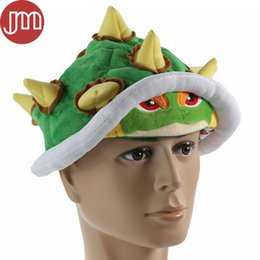 Wholesale Mario Bros Cosplay - New Super Mario Bros Koopa Bowser Jr. Soft Plush Hat Cosplay Costume Cap Green Adults Gifts Toy Unisex 65cm Free Tracking